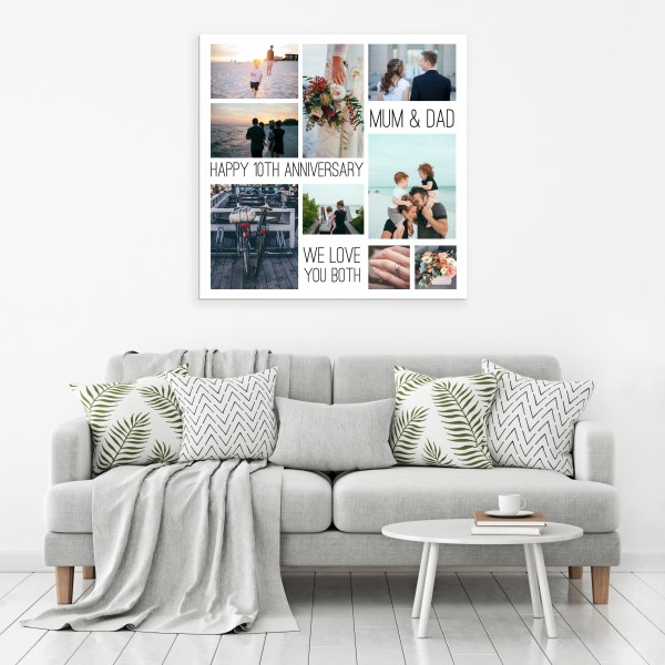 Square Photo and Text Collage Canvas