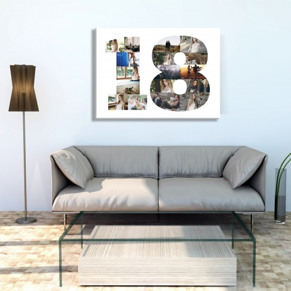 Adult & Teen Ages - Number Collage Canvas