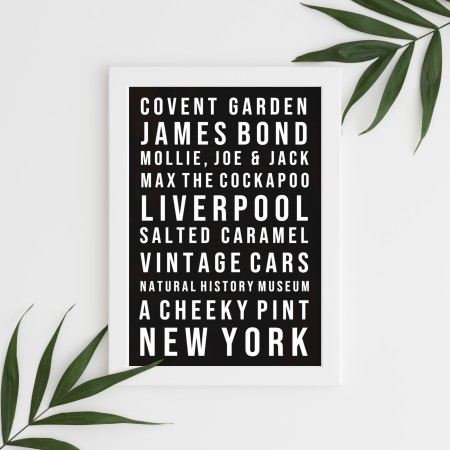 Favourite Things Typography Poster