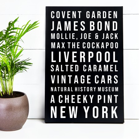 Favourite Things Typography Canvas