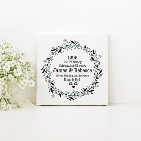 Wedding Anniversary - Square Typography Canvas