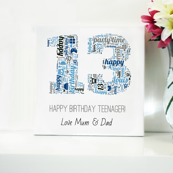 Birthday Word Art Canvas