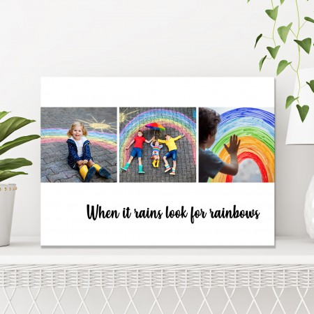 'When it rains look for rainbows' - Collage Canvas