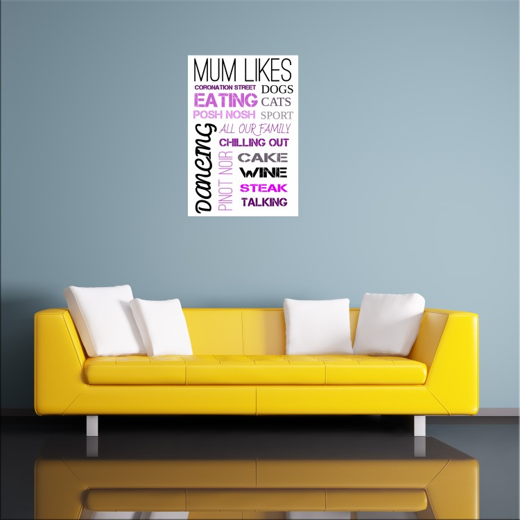 Mum Likes Typography Poster Gift