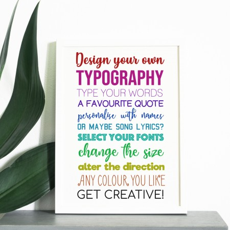 Design your own portrait Typography Poster - Background colour choices