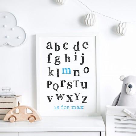 Kids Alphabet Name Typography Poster