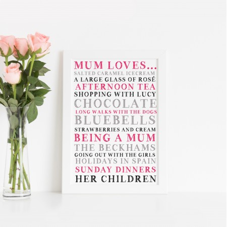 Mum Loves Typography Poster