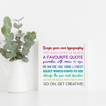 Design your own Square Typography Poster - Background colour choices