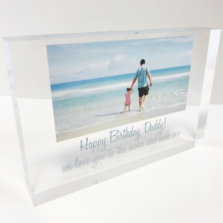 6x4 Acrylic Block Glass Token - Photo and Message