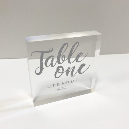 4x4 Glass Token - Square Table number