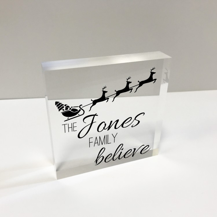 4x4 Acrylic Block Glass Token Square - Family Believes