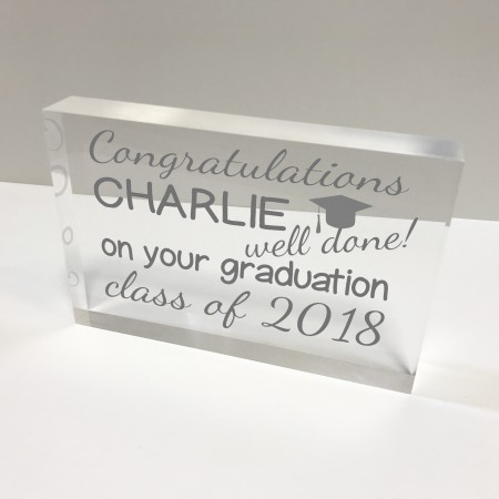 6x4 Acrylic Block Glass Token Landscape - Graduation