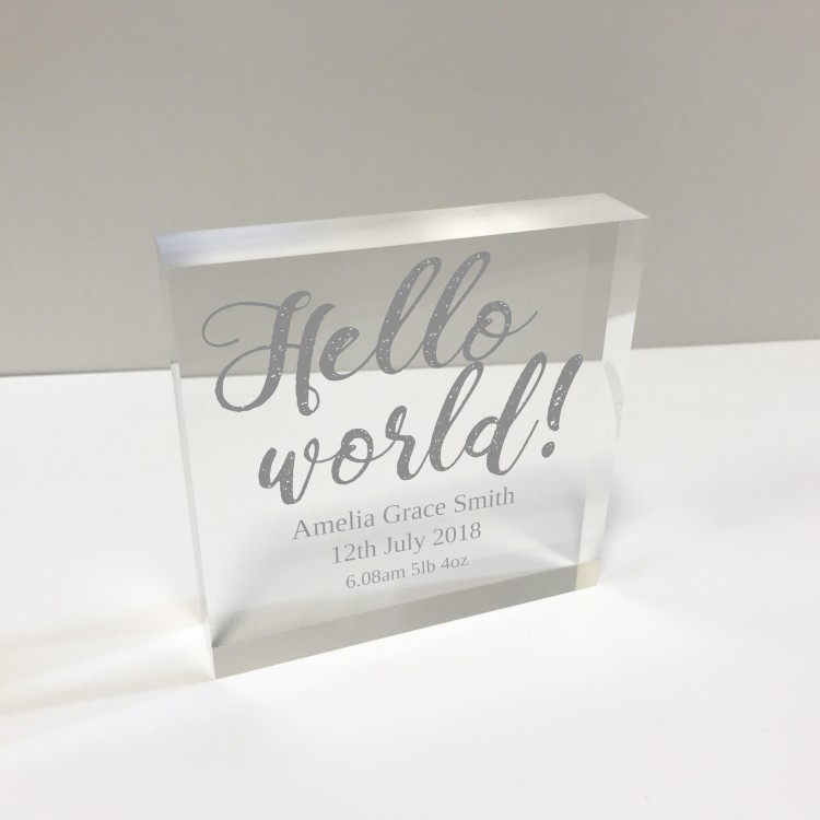 4x4 Glass Token - Hello World