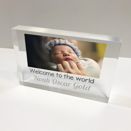 6x4 Acrylic Block Glass Token - Baby photo