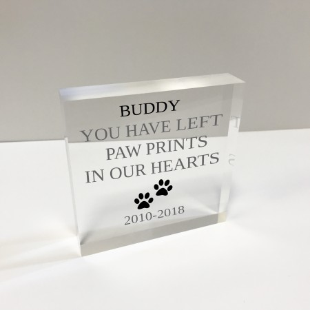4x4 Glass Token - Paw Prints