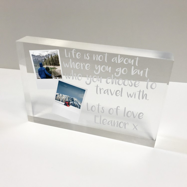 6x4 Acrylic Block Glass Token Landscape - Polaroids