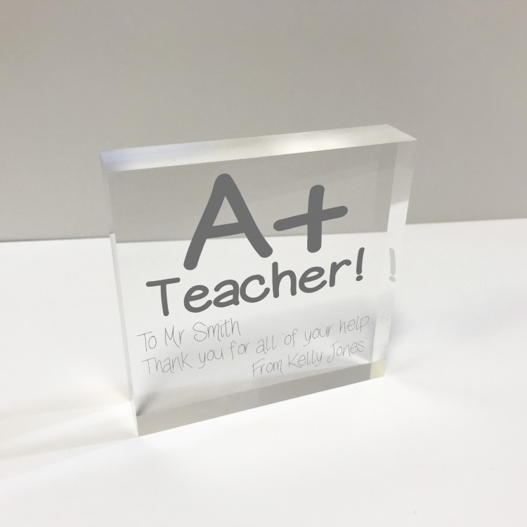 4x4 Glass Token - A+ Teacher