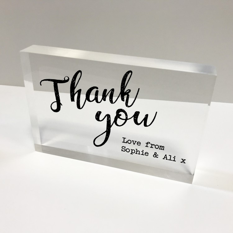 6x4 Acrylic Block Glass Token - Thank you