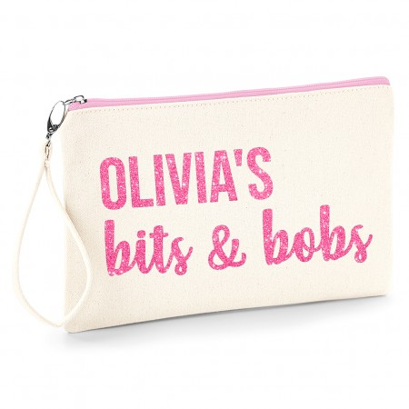 Personalised Make Up Bag - Natural and Pink Zip