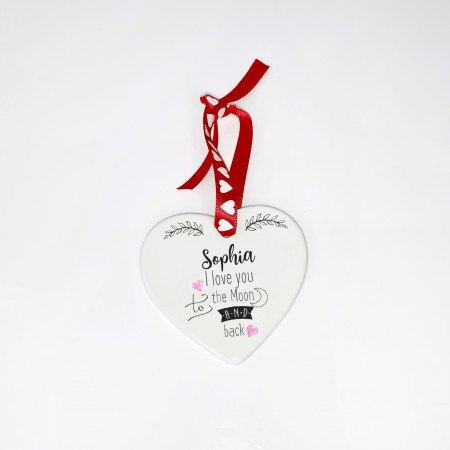 Personalised Ceramic Heart - Moon and Back