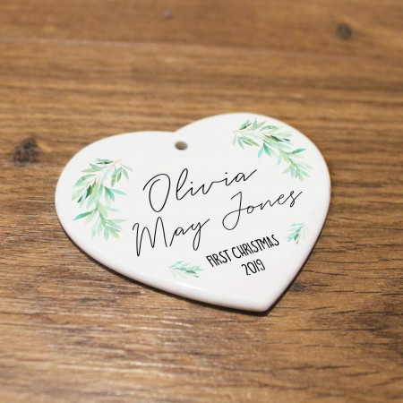 Personalised Ceramic Heart - First Christmas Gift