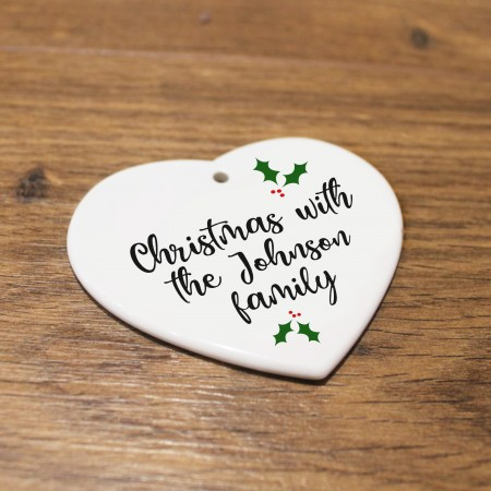 Personalised Ceramic Heart - Family Christmas