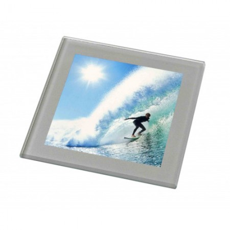 Silver Grey Glass Photo Coaster