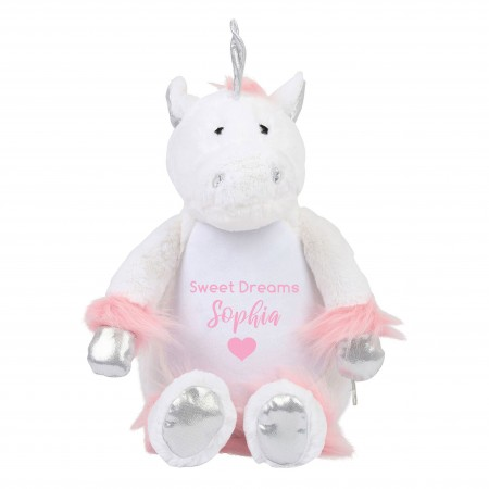 Personalised White Unicorn Zippie