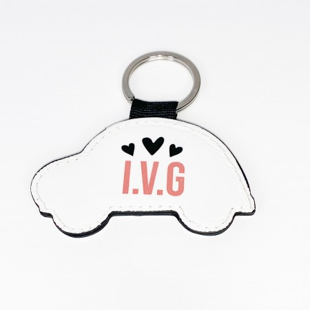 Personalised Keyring - Faux leather Car