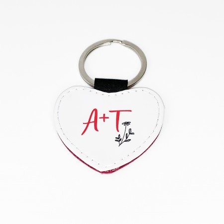 Heart Keyring with pink glitter