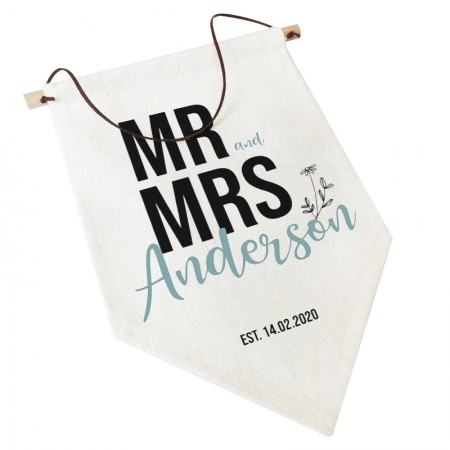 Linen Flag -  Personalised Home Decor - Mr and Mrs