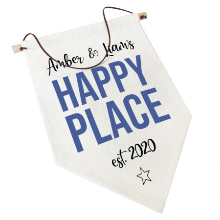 Linen Flag -  Personalised Home Decor - Happy Place