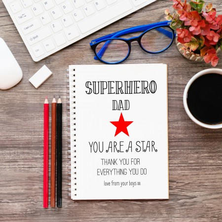 Personalised Superstar Dad Notebook A5