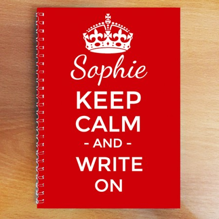Personalised Keep Calm Notebook  A4