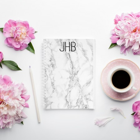 Personalised Photo Notebook - White Marble A5