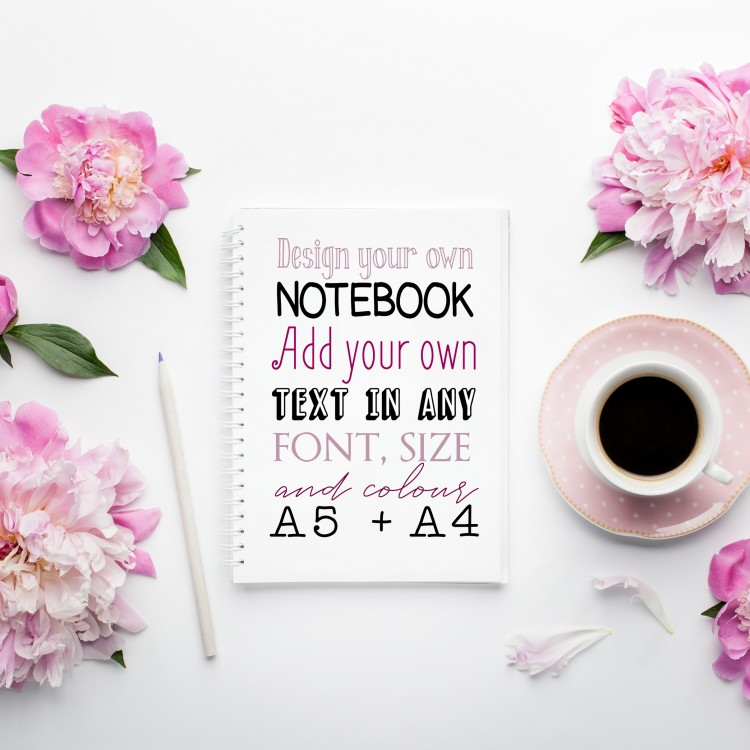 Personalised Notebook - Design Your Own. Text Only