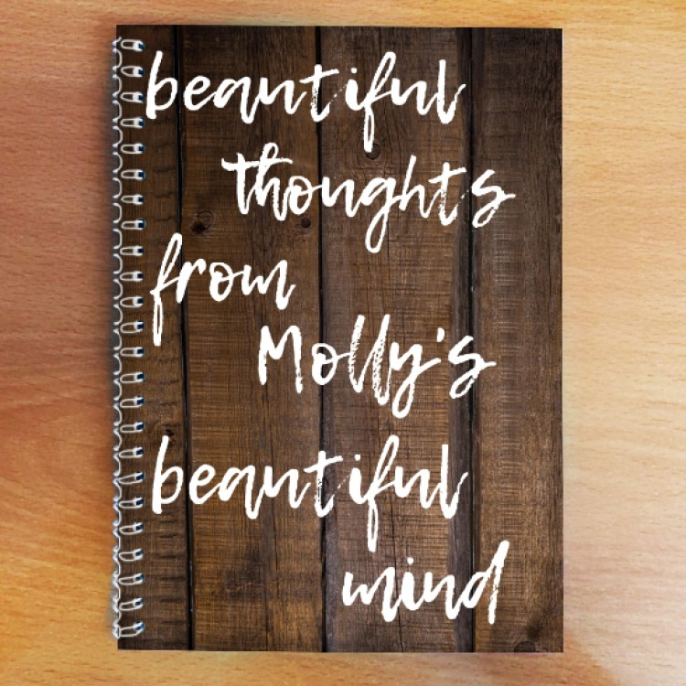 Personalised Photo Notebook - Wooden -beautiful Mind