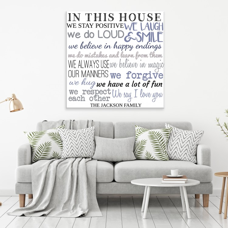 In Our House We - White Typography Canvas