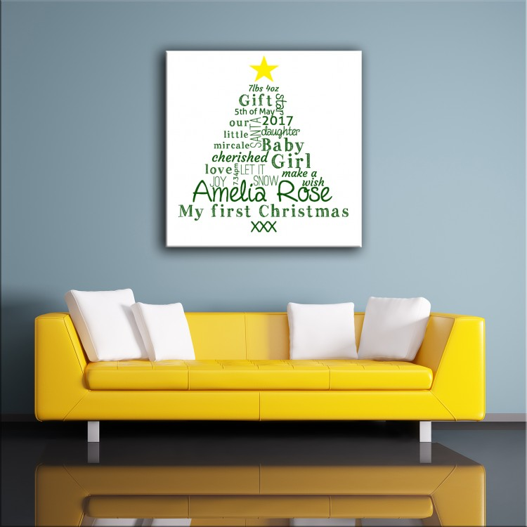 First Christmas - Typography Canvas