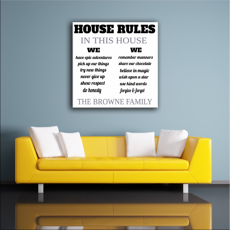 House Rules - Typography Canvas