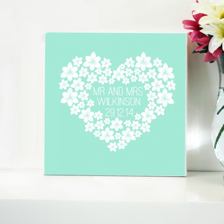 Wedding Heart Typography Canvas