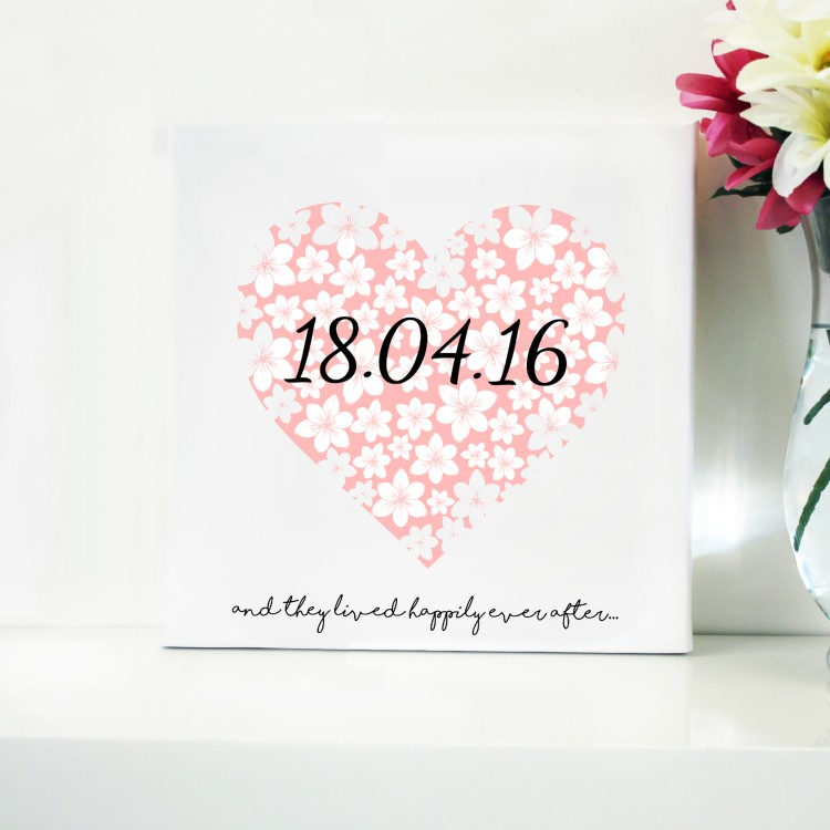 Heart Date Typography Canvas
