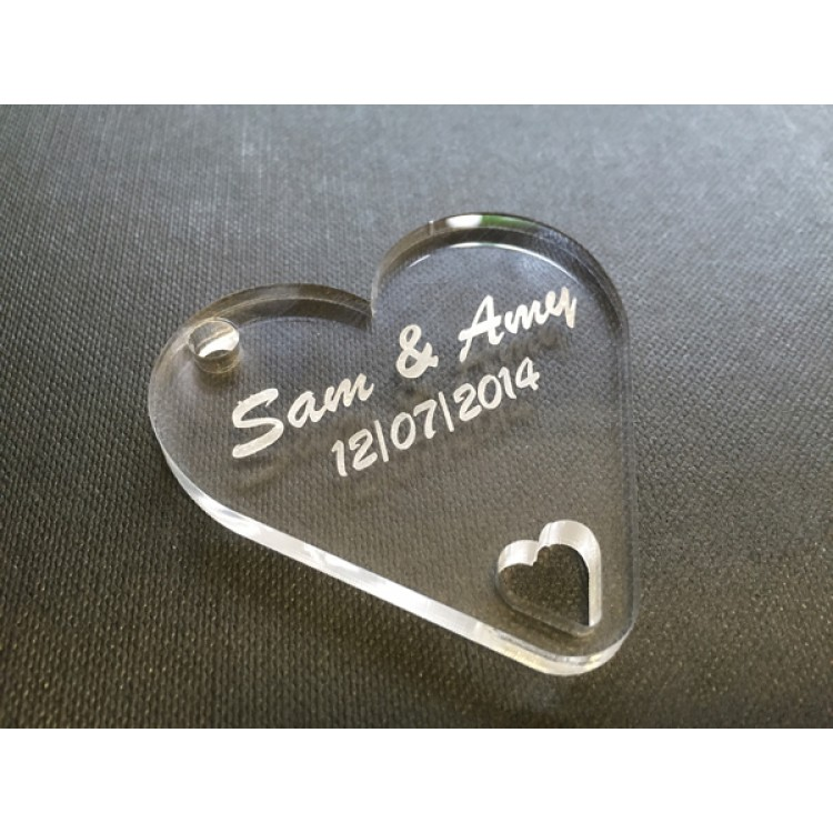 Personalised Keyring - Acrylic Heart
