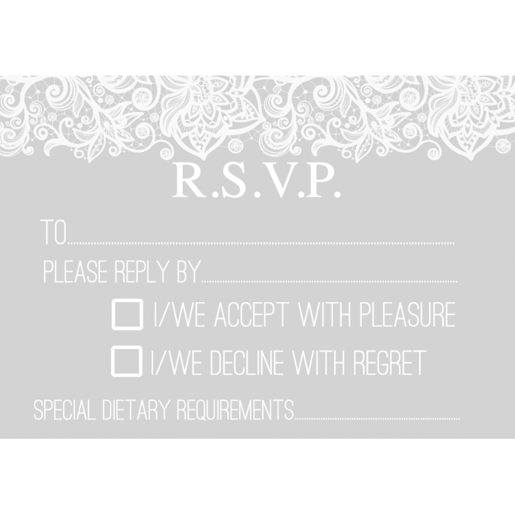 RSVP Cards Design 2 Grey Lace Template