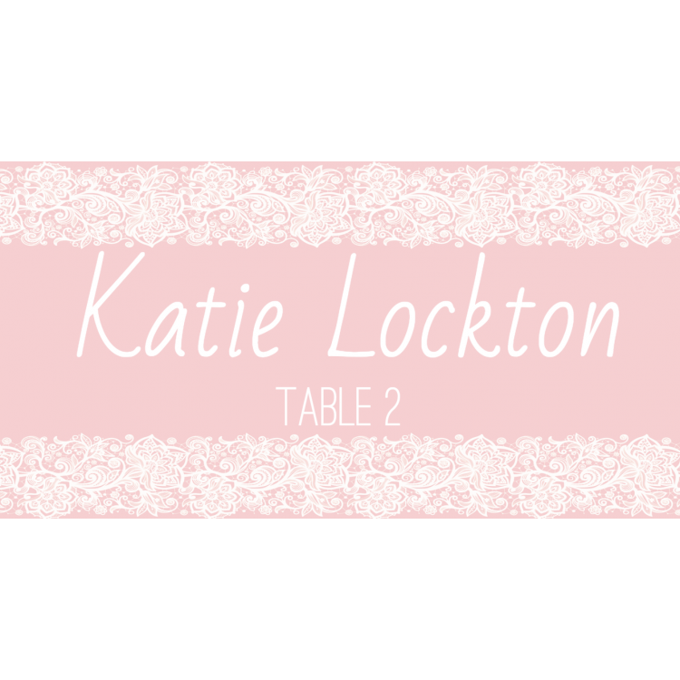 Place Cards - Pink lace
