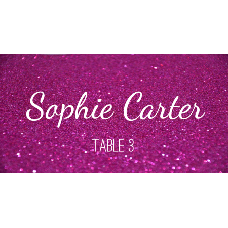 Place Cards - Pink glitter