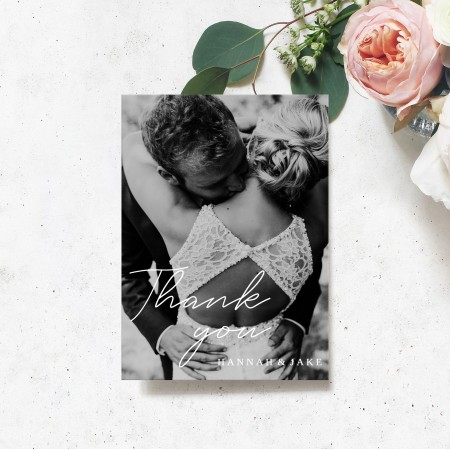 Portrait Photo Wedding Thank you cards - Flat A5