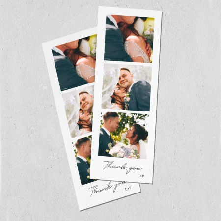 Photo Wedding Thank you cards Strip - Flat 74mm x 210mm