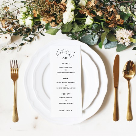 Wedding Menus - Flat 102mm x 290mm