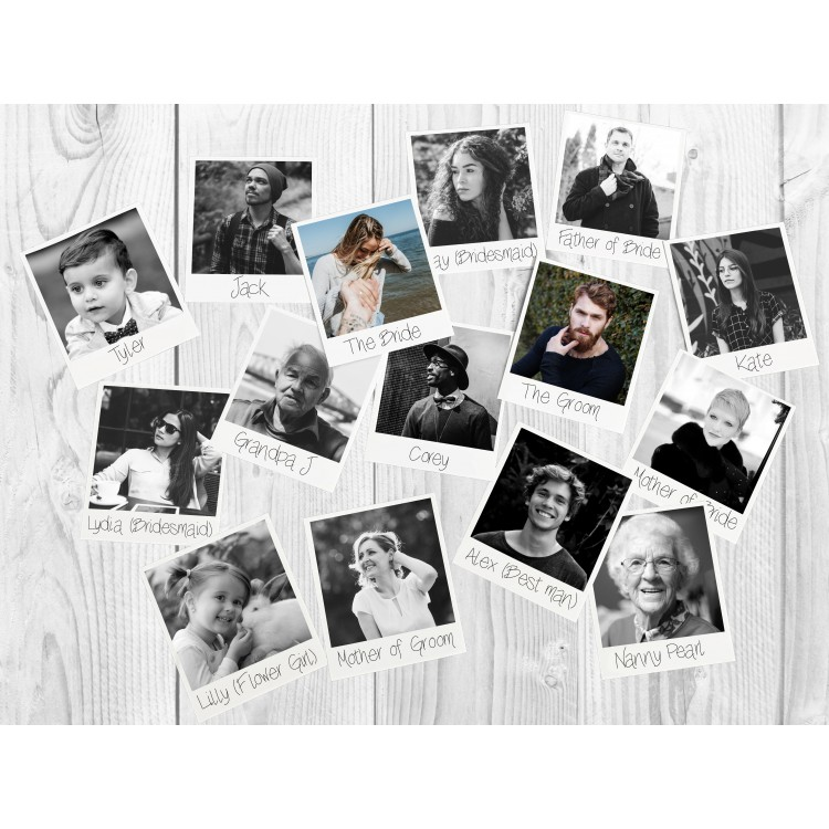 Wedding Photo Print Table Cards - Pack Of 15